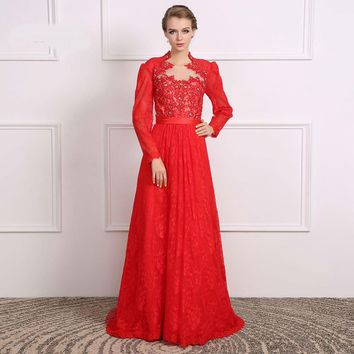 Mother of the bride dresses Red gown Long sleeve lace evening dress
