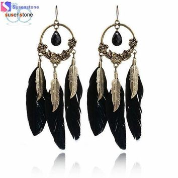 ICIKU7Q Vintage Feather Long Drop Earrings