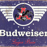 Budweiser 1936 Logo Blue Distressed Retro Vintage Tin Sign Bar Man Cave Decor Gift Idea Father's Day 12.5 x 16 inches
