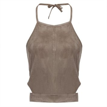 FANALA Suede Crop Top Women Cropped Fashion Tanks Tops Summer Sexy Style Vest Sleeveless Suede Bralette Bandage Tops Camisole 10