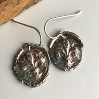 Fine Silver Wax Seal Stamp Earrings, Fleur De Lis Earrings, Archaic Earrings, .999 Fine Silver, Kiln Fired, Mardi Gras, New Orleans
