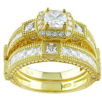 Vintage Style 14k Yellow Gold Plated Sterling Silver Vintage Style Cz Wedding Ring