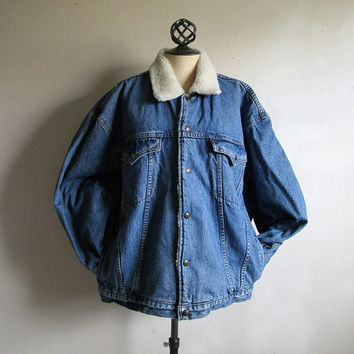 Vintage Levi Strauss 80s Trucker Jacket Sherpa Lined Blue Denim Jean Winter 1980s Mens Levis Jacket 2XL