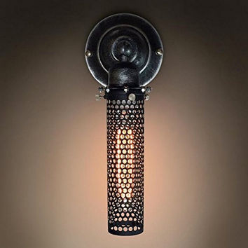 Wrought Iron Metal Mesh Wall Sconce Bar Porch Steampunk Lamp Mid Century - hallway wall light- living room wall sconce- rustic wall light