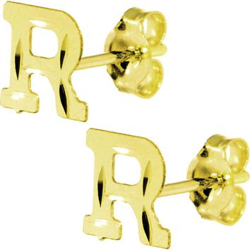 14kt Yellow Gold Initial R Stud Earrings