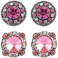 "Chunk Snap Charm Mini Petite Snaps 12 mm (1/2"") Snaps Two Pairs for Earrings  - Pink"