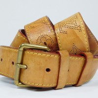 Authentic Louis Vuitton Belt Nomade Vachetta Leather Size 100/40 Perforated VT82