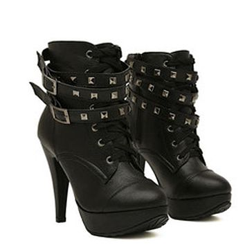 2016 New Winter Women Black High Heel Martin Ankle Boots Buckle Gothic Punk Motorcycle Combat Boots Shoes Platform Free Shipping