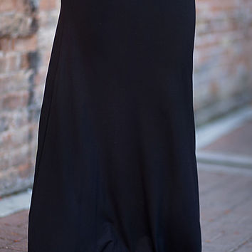 Solid Maxi Skirt Black