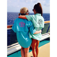 Monogrammed Fishing Shirt, Long Sleeve, Adult Size, Beach Cover Up, Swim Cover Up, Swim Wear, Spring Break, monogrammed shirt,