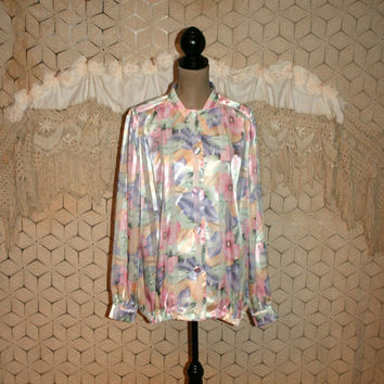 80s Blouse Plus Size Pastel Floral Blouse Long Sleeve Satin Blouse Button Up Blouse Dressy Spring Blouse Oversized 2X 3X Womens Clothing