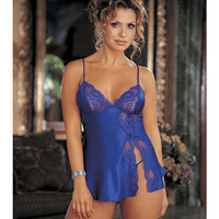 Charmeuse & Lace Babydoll W-adjustable Straps & Thong Electric Blue Lg