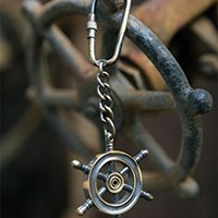 Vintage Antique Brass Key Chain Ring (Brass Ship's Wheel)