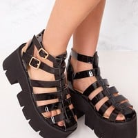 Jovana Black Cleated Flatform Sandals