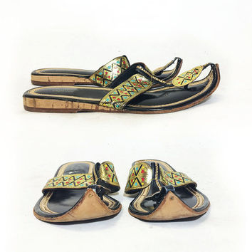 Vintage 1970's Gypsy ITALIAN Leather Thong Flats | Metallic Gold Ethnic Sandals | Boho Moroccan Turkish Indian Slipper Shoes | Size 8