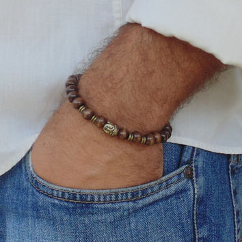 Mens wood Beaded Bracelet Brown wood beads and Buddha Charm Stretch Handmade Free Shipping