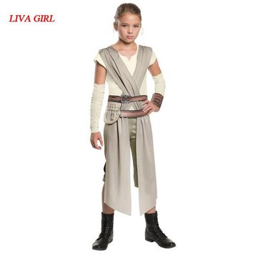 Star Wars Force Episode 1 2 3 4 5 New Arrival Child Classic  The Force Awakens Rey Fancy Dress Girls Movie Charater Carnival Cosplay Halloween Costume AT_72_6