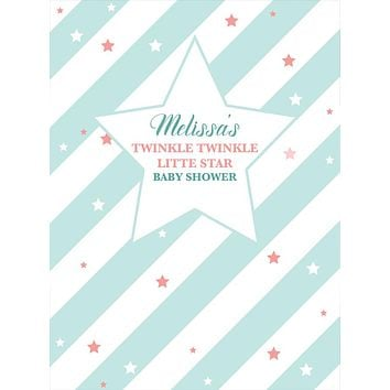 Custom Twinkle Twinkle Little Star Mint Stripes Baby Shower Backdrop (Any Color) Background - C0288