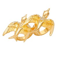 CC Skye Pave Love Sparrow Two-Finger Ring Gold