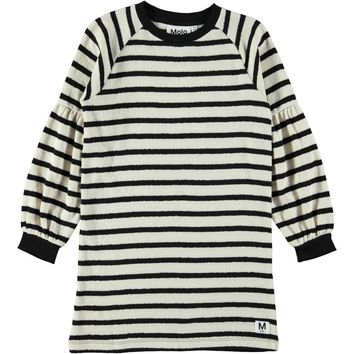 Molo Girls' Black Cream Stripe CORA Dress