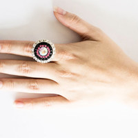Nebula - 0.99 sterling silver plated adjustable ring with Swarovski crystals