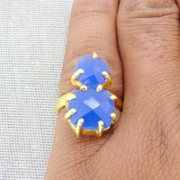 Handcrafted Ring - Blue Chalcedony Ring - Semi Precious Ring - Faceted Ring - Handmade Ring - Gold Vermeil Ring - Prong Ring - Wedding Ring