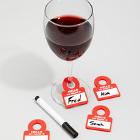 $12 Wine Glass Name Tags | Drink Notes Wine Charms | fredflare.com