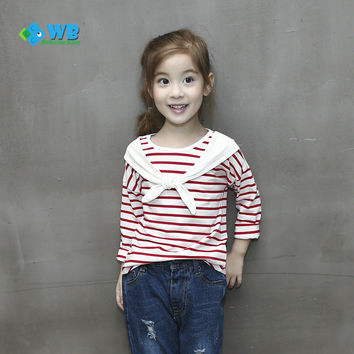 Autumn Toddler Baby girls Clothing Sailor Style Long Sleeve Casual Striped T-Shirt Blouse Kids Fall Child Girl clothe 18956