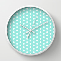 Polka Dot Tiffany Blue Wall Clock by Beautiful Homes