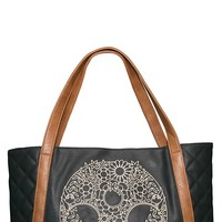 Loungefly Quilted Skull Embroidery Tote in Brown | Blame Betty