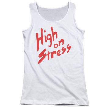 Revenge of the Nerds High on Stress White Womens Tank-Top T-Shirt