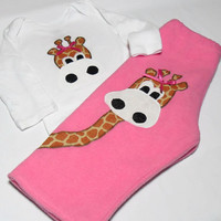 Baby Girl clothes -  Girl Bodysuit Set - Fleece Pant Set - Giraffe for Baby Girl