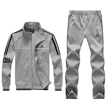 ADIDAS autumn and winter new men's sports suit casual wear fitness clothes running clothes two-piece Grey