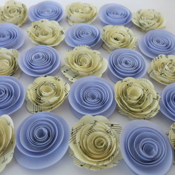 Lilac Purple and Sheet Music paper roses, 25 pieces, floral Table embellishments baby shower, wedding, event, party, gathering, entertaining