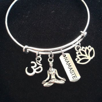 Namaste Lotus Om and Yoga Girl Charm Bracelet Adjustable Expandable Silver Wire Bangle Trendy Yoga Inspired Meaningful Inspirational