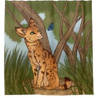 The Serval and the Butterfly Shower Curtain