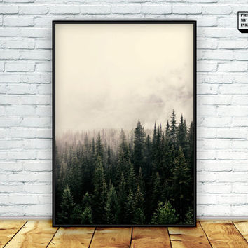 Forest Photography, Trees Wall Art, Forest Print, Foggy Print, Mountain Wall Art, Woodland, Download, Digital, 8x10, 16x20, 18x24, 24x36