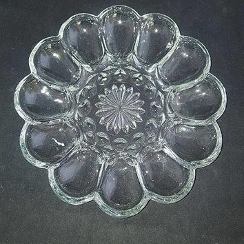 Anchor Hocking Fairfield Egg Plate Clear Glass Deviled Egg Tray