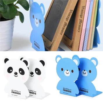 2Pcs Metal Bookends Cute Cartoon Bear Shape Heavy Duty Nonskid Bookends Art Bookends for Office 7.09''
