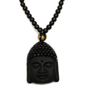Hot Sale Large Natural Black Obsidian Carved Buddha Blessing Lucky Amulet Pendant with Necklace Luck Gemstone Crafts Gift