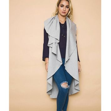 Womens Irregular Cardigan Coat +Gift Necklace