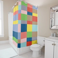 Cubist Quilt in Spring Colors Shower Curtain