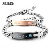 OBSEDE TRUE LOVE Couple Bracelet with Crystal Stainless Steel Bracelet Pair Bracelets Cross Charm for Women Men Jewelry 2017
