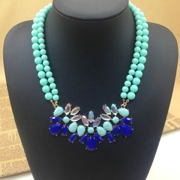 Mint Green Turquoise Flower Beads Fashion Choker Necklaces & Pendants For Women 2013 Design Statement Necklace Jewelry
