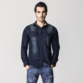 Men Denim Shirts Men's Casual Slim Fit Large Size Long Sleeved Turn Down Collar Jeans Shirts Masculina Men BL