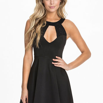 Sequin Lace Skater Dress - Club L - Black - Party Dresses - Clothing - Women - Nelly.com