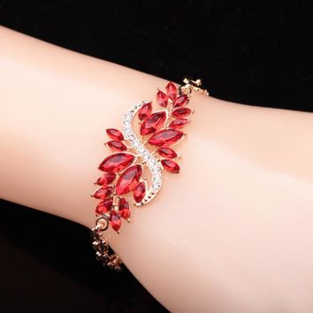 Stylish Shiny Hot Sale New Arrival Great Deal Awesome Gift Korean Peacock Crystal Diamonds Bangle Chain Bracelet [6573081415]