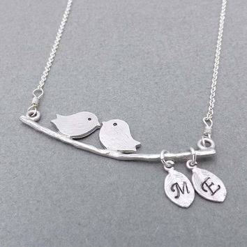 Two Bird Love Necklace -sterling silver chain - Bridesmaids,bestfriend,Wife,Girlfriend Gift--simple,dainty jewelry
