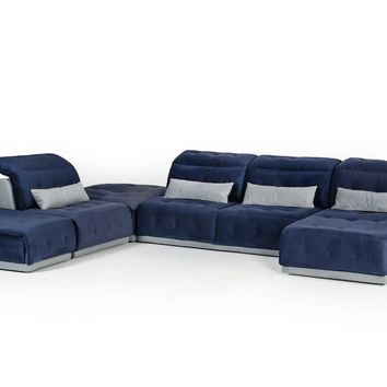 David Ferrari Daiquiri Italian Modern Blue & Grey Modular Sectional Sofa