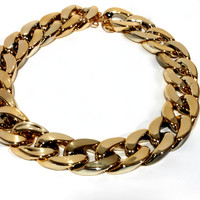 """Cuban Link"" Gold Link Chain Choker Necklace"